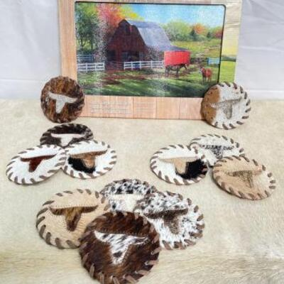 159  Tempered Glass Cutting Board, and Cowhide Leather Long Horn Coasters With Lacing Tempered Glass Cutting Board, and Cowhide Leather...