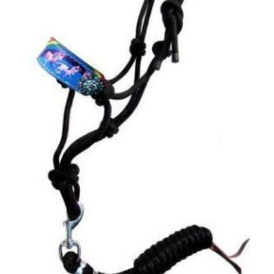 81  Showman ® Pony Rainbow Unicorn cowboy knot rope halter.  This rope halter features a padded noseband with a rainbow unicorn print...