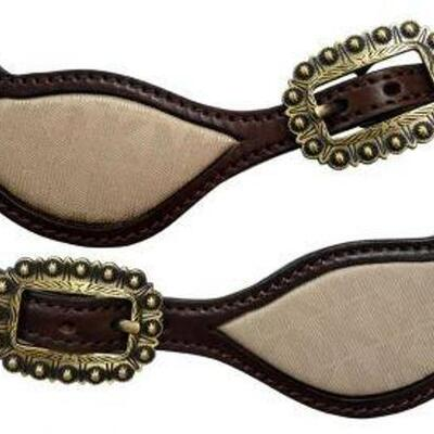 #71 • Klassy Cowgirl Argentina Cow Leather Spur Strap with Re-Purposed Michael Kors inlay.This spur strap features a Michael Kors print...