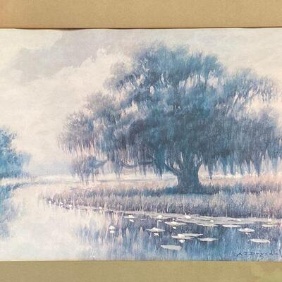 https://www.ebay.com/itm/124841993701ME7078 AJ Drysdale Framed Louisiana Bayou Scene, early 20th c. Print U-Ship or Local Pickup