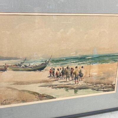 https://www.ebay.com/itm/114924800749ME6090 : Manuel Tavares (1911-1974) Oil on Canvas See side Original Art