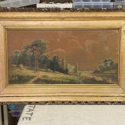https://www.ebay.com/itm/124841990826ME7074 AL Barnes Gouache on Board Original Art Local Pickup Country Side Castle