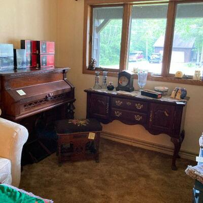 Buffet, organ & Victorian organ stool.