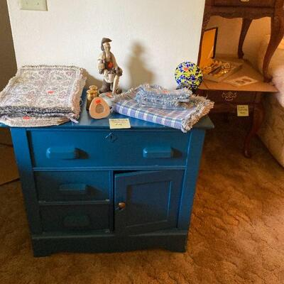Painted blue commode