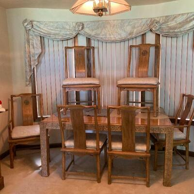 Dining room set - table, 2 leaves & 6 chairs
