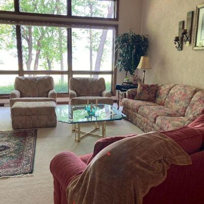 2 chairs, ottoman, brass & glass coffee table