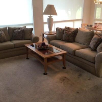 2 sofas, coffee table, end tables