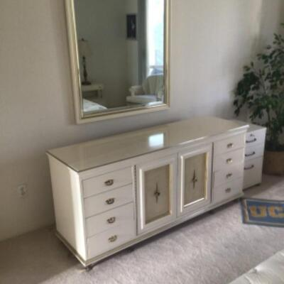 Dresser, mirror, pair of night tables, king bed