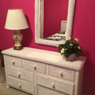 White wicker dresser and mirror $65
