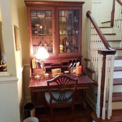 Vintage oak and glass secretary  $850.00 OBRO