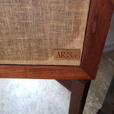 Pair of vintage Acoustic Research AR-3a loudspeakers with original wooden stands.