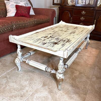 Vintage hand painted coffee table 52 x 26 x 17
