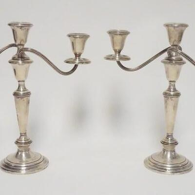 1013PAIR OF GORHAM STERLING SILVER CANDELABRA, WEIGHTED, 11 1/2 IN HIGH X 11 1/2 IN WIDE