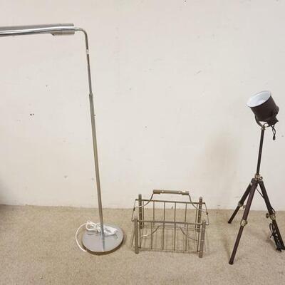 10912 MODERN FLOOR LAMPS & MAGAZINE RACK, BOTH LAMPS ARE ADJUSTABLE