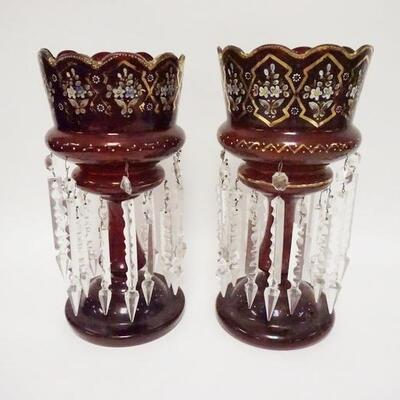 1047PAIR OF RUBY GLASS HAND PAINTED LUSTERS W/CUT PRISMS, 14 1/4 IN HIGH