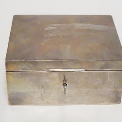 1056STERLING SILVER JEWELRY BOX W/KEY, BLACK, STARR & FROST, NEW YORK, MONOGRAMMED, 5 5/8 IN X 4 3/4 IN X 2 3/4 IN HIGH