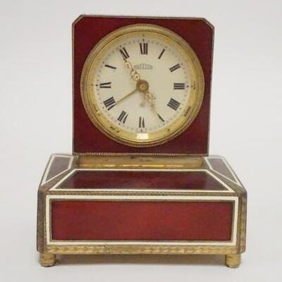 1058ANGELUS ENAMELED CLOCK W/MUSIC BOX, MUSIC BOX NOT WORKING, 3 3/8 IN WIDE X 4 IN HIGH