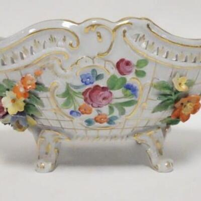1011DRESDEN OVAL FOOTED BOWL W/APPLIED FLOWERS, OPEN EDGE, HAND PAINTED FLOWERS & GOLD TRIM, COUPLE OF NICKS ON THE FLOWER PETALS, 12...
