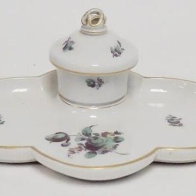1065NYMPHENBURG PORCELAIN INKWELL, W GERMANY, INSERT HAS BEEN REPAIRED, 8 IN WIDE