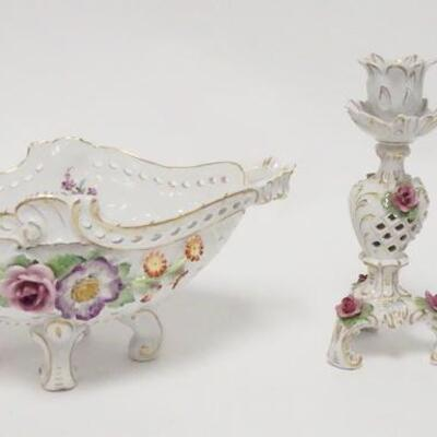10453 PIECE PORCELAIN LOT, VON SHIERHOLZ FOOTED BOWL, 11 IN W/CHIPS ON THE FLOWERS & A PAIR OF CAPODIMONTE CANDLESTICKS