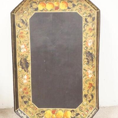 1078VERY LARGE TOLE TIN TRAY, FRUIT & FLORAL BORDER, 35 1/4 IN X 22 3/4 IN