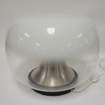 1094UNUSUAL MODERN TABLE LAMP, HAS A WHITE TO CLEAR SHADE, 14 IN HIGH X APPROXIMATELY 17 IN DIAMETER