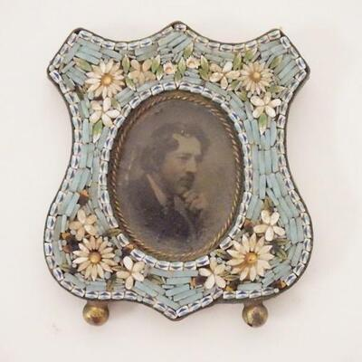 1071MINIATURE MICROMOSAIC FRAME W/OLD PHOTO, STANDER IS MISSING, SHIELD FORM, 1 3/4 IN X 2 IN