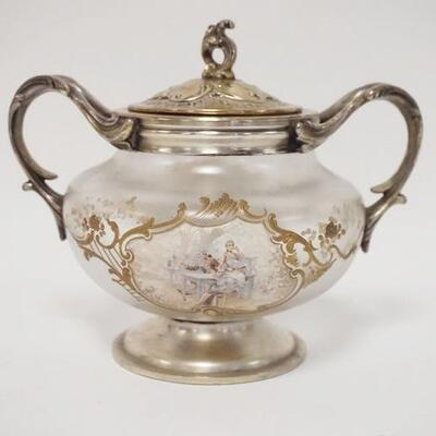 1082HAND PAINTED VICTORIAN SUGAR BOWL W/ORNATE METAL MOUNTS, 5 1/2 IN HIGH