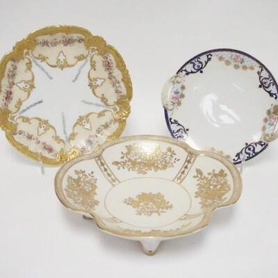 10423 PIECE HAND PAINTED PORCELAIN, LS & S LIMOGES PLATE, NORITAKE PLATE & FOOTED BOWL, LARGEST IS 9 3/8 IN
