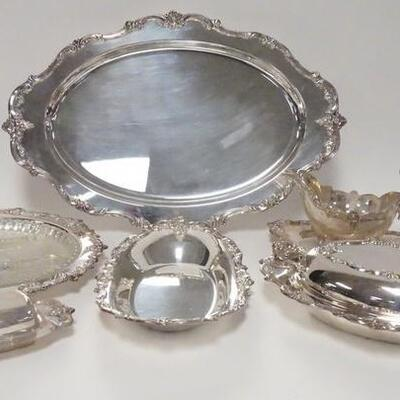 1005TOWLE *EL GRANDE* SILVER PLATED SERVING PIECES, 20 1/2 IN TRAY, ROUND PLATE W/DIVIDED GLASS INSERT, SAUCE BOAT W/UNDERPLATE, BUTTER...