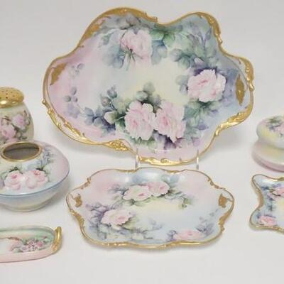 10097 PIECE HAND PAINTED PORCELAIN DRESSER SET, LIMOGES & OTHER BLANKS, PAINTING BY M.D. CHANDLER ROCHESTER, NY, BOTTOM OF THE HATPIN...