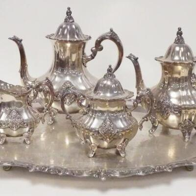 1015TOWLE 5 PIECE SILVER PLATED TEASET, EL GRANDE PATTERN, SMALLER POT NEEDS A HINGE PIN, TRAY IS 30 1/4 IN ACROSS THE HANDLES, TALLEST...