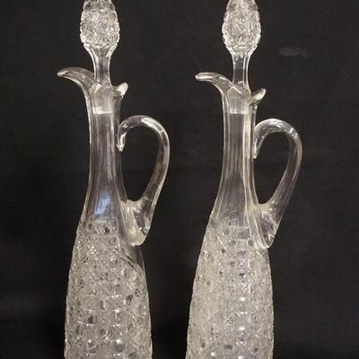 1080PAIR OF AMERICAN BRILLIANT CUT TALL DECANTERS, HOLLOW BLOWN & CUT STOPPERS, 17 1/2 IN HIGH