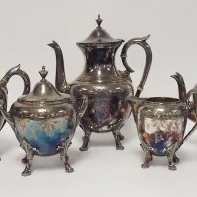 1004ROGERS SMITH & CO 5 PIECE SILVER PLATED SET, TEA & COFFEE, TALLEST POT IS 11 1/2 IN