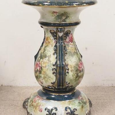 1079LARGE PORCELAIN PEDESTAL W/HAND PAINTED ROSES, 23 1/2 IN HIGH X 14 IN TOP DIAMETER