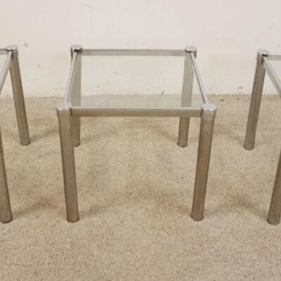 10903 SMALL GLASS & CHROME TABLES, 14 1/4 IN SQUARE X 15 IN HIGH