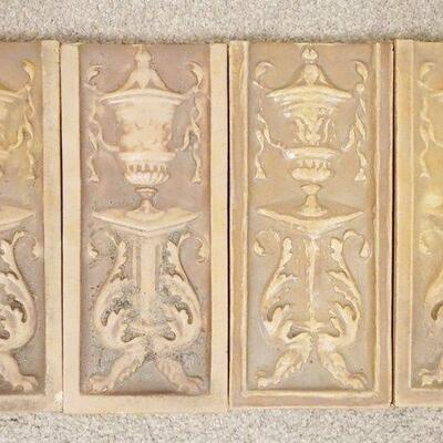 10834 SIGNED ATLANTIC TILES DEPICTING AN URN ON A PEDESTAL, 5 IN X 11 1/2 IN