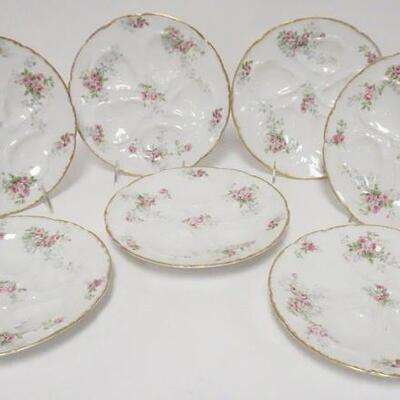 10067 GDA LIMOGES OYSTER PLATES, ROSE DECORATION W/GOLD BORDERS, 8 3/4 IN