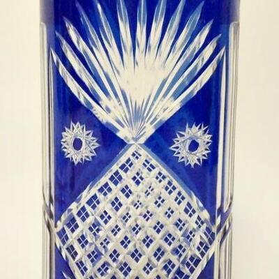 1020COBALT BLUT CUT TO CLEAR OVAL VASE, 9 1/4 IN HIGH