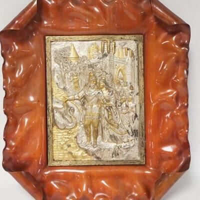 1085UNUSUAL RELIEF METAL PLAQUE, GOLD & SILVER GILT DEPICTING A MAN, WOMAN, CASTLE, SWAN, ETC, 11 IN X 12 1/2 IN