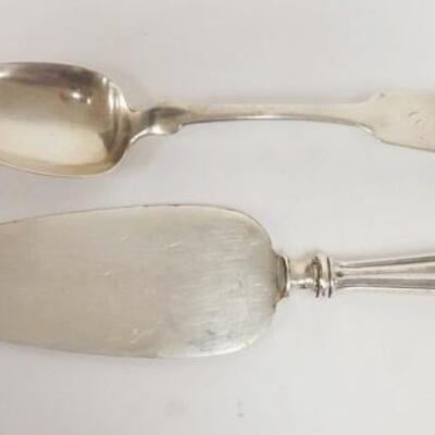 10732 PIECE COIN SILVER TABLESPOON SIGNED J WALLIN W/HALL MARKS & A PASTRY SERVER W/A STERLING SILVER HANDLE LONGEST IS 10 1/4 IN, 1.8 TOZ
