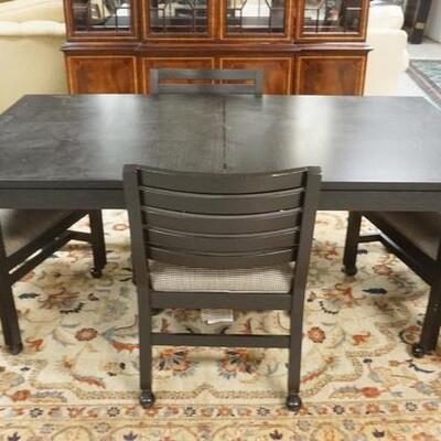 1093ETHAN ALLEN 5 PIECE DINETTE SET *MIDTOWN*, EBONIZED OAK, HAS 2-20 IN LEAVES, 4 ARM CHAIRS, TABLE IS 70 IN X 38 IN CLOSED