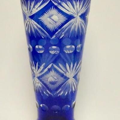 1016VERY TALL COBALT BLUE CUT TO CLEAR CRYSTAL VASE, 16 IN HIGH