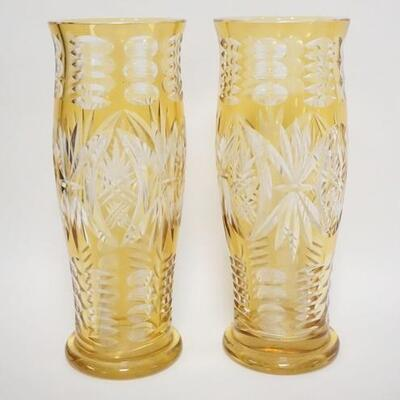1081PAIR OF AMBER CUT TO CLEAR TALL VASES, 13 1/4 IN HIGH