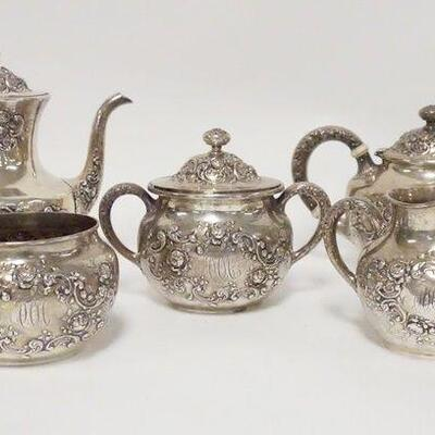 1048GORHAM STERLING SILVER 5 PIECE TEA & COFFEE SET #A3550, MONOGRAMMED, CREAMER HAS A DENT ON THE MONOGRAM, TALLEST POT IS 7 1/4 IN,...