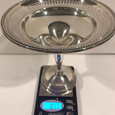 Sterling compote  Weights are shown to save your time from asking .  NONE of our silver or gold will be sold at scrap prices