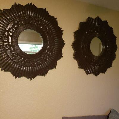 pair of black plastic, framed mirrors in excellent condition