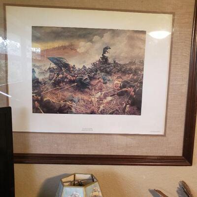 civil war battle matted and framed
