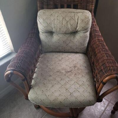 rattan chair, very good condition, this is one of two chairs, fabric covered cushions