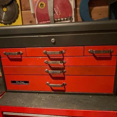 Vintage Slim Line tool box w/ Tools